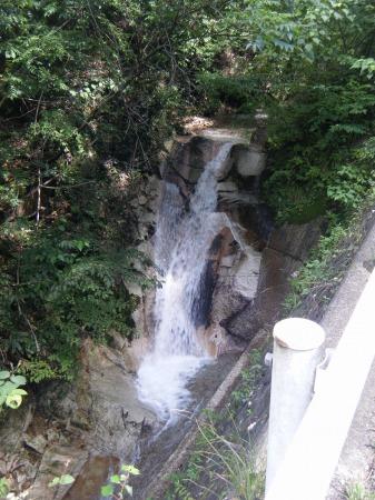 道路脇の小さな滝